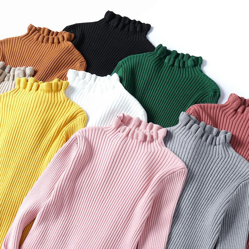 2020 Herbst Winter Pullover Rüschen Halb Rollkragen Frauen Pullover Feste Weibliche dünne sexy Strickdicke Pullover Rosa Weiß Grün