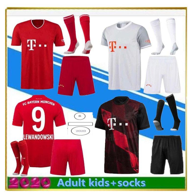 Erwachsene Kinder Kits 2020 2021 Müller Sane Fussball Jerseys 20/21 Lewandowski Robben Tolisso Home Fussball Jersey Football Shirts Kit Socken