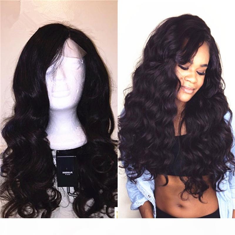 % 100 Siyah Kadınlar Dantel Açık Peruklar Doğal Sınır çizgisi ile Brezilyalı İnsan Saç Moda Dalgalı Tutkalsız Tam Dantel Peruk