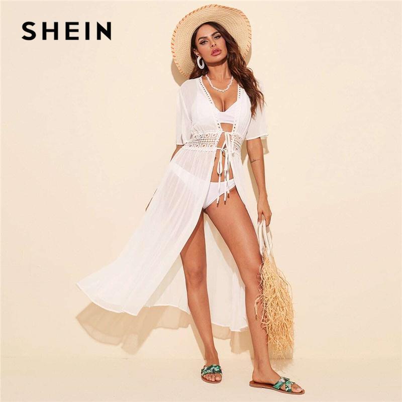 Shein Tie Vita in pizzo Inserto Kimono senza bikini Donne Mezza manica Summer Solid Solid Sheer Boho Long Kimono