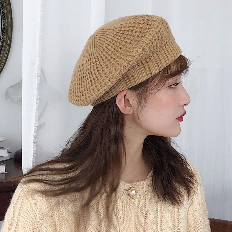Cappelli a maglia stile britannico Berretti autunno-inverno caldo accogliente Solid Cappelli Colore Pittore per le signore e le ragazze