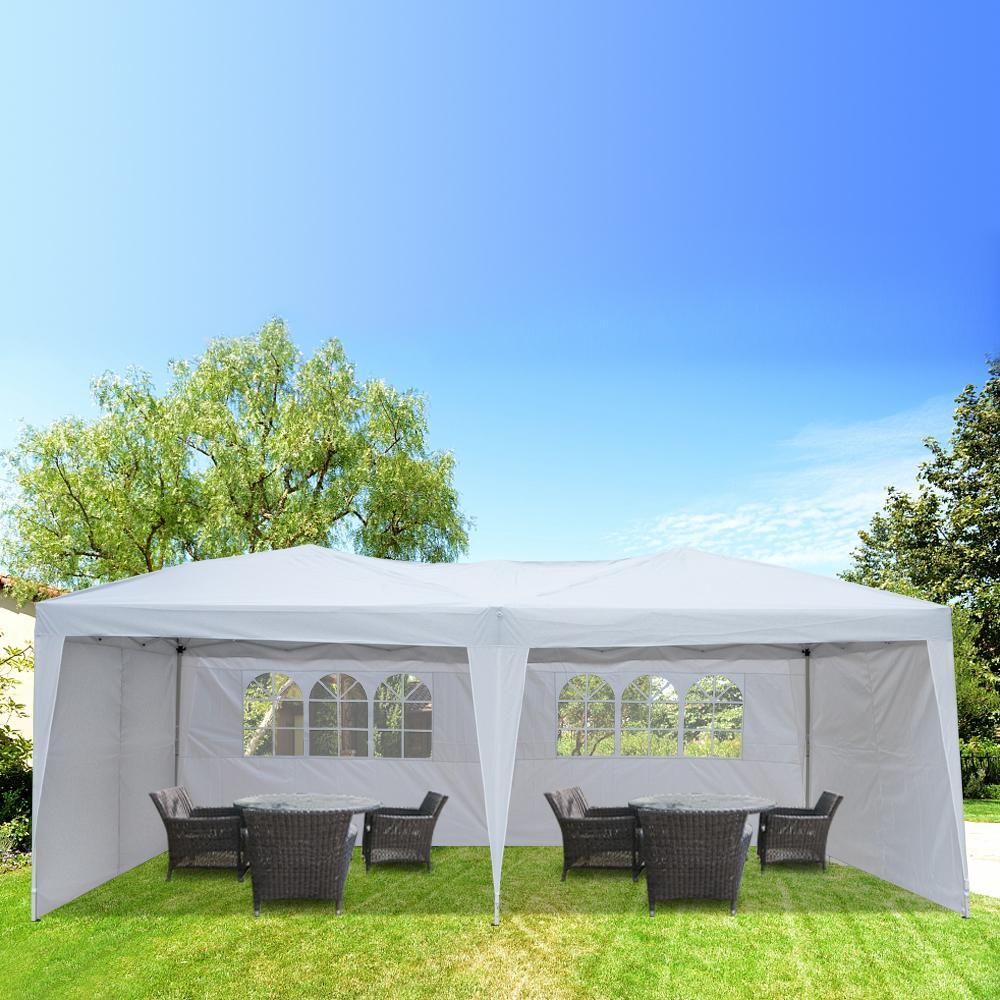 10x20FT Открытый Свадьба Палатка Палатка 3x6m Кемпинг Водонепроницаемый Свадьба Gazebo С 4 Сторонами 2 Windows Складная Патио Солнце укрытие Sun Caulter Marquee