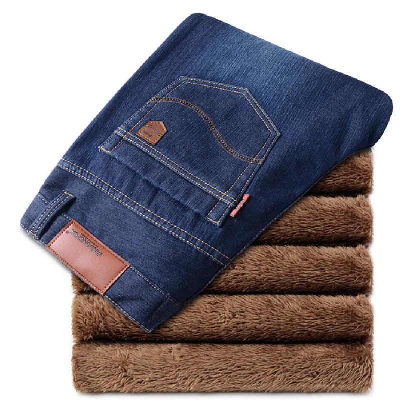 Nueva llegada caliente venta de los hombres de los pantalones vaqueros de invierno gruesa caliente pantalones sólidos pantalones ocasionales Longitud Pantalón de alta calidad Full jeans de moda