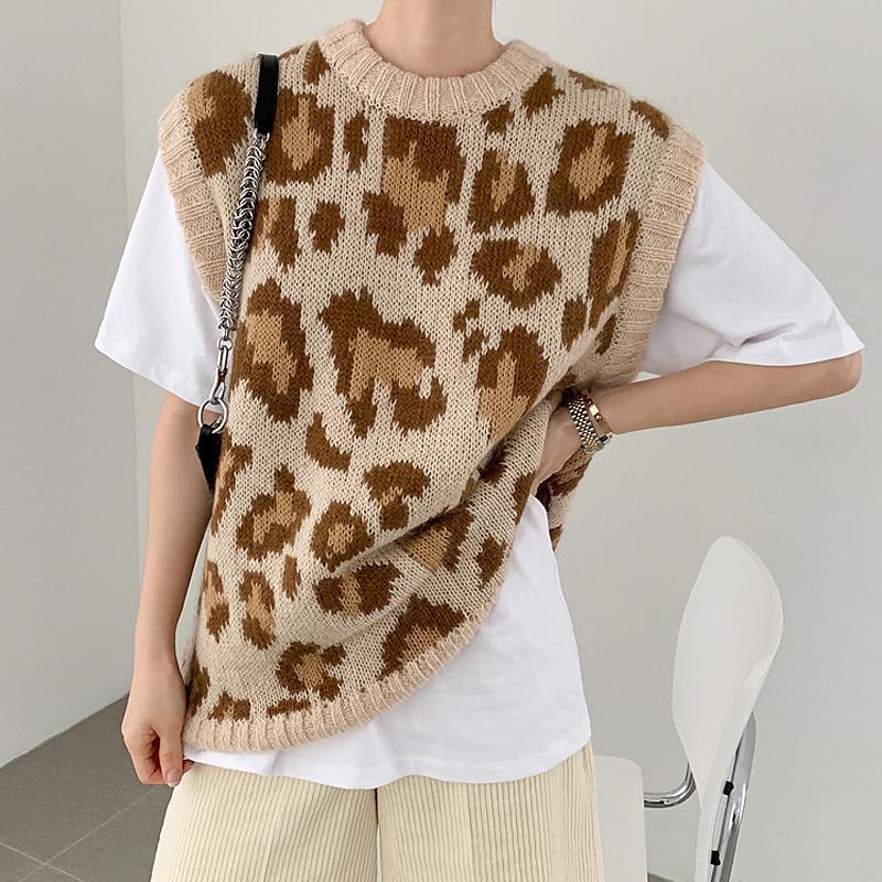 Nueva primavera suéter flojo sin mangas de las mujeres del otoño chaleco chaleco tejer suéteres de punto de lana de gran tamaño comodín niñas Pullover