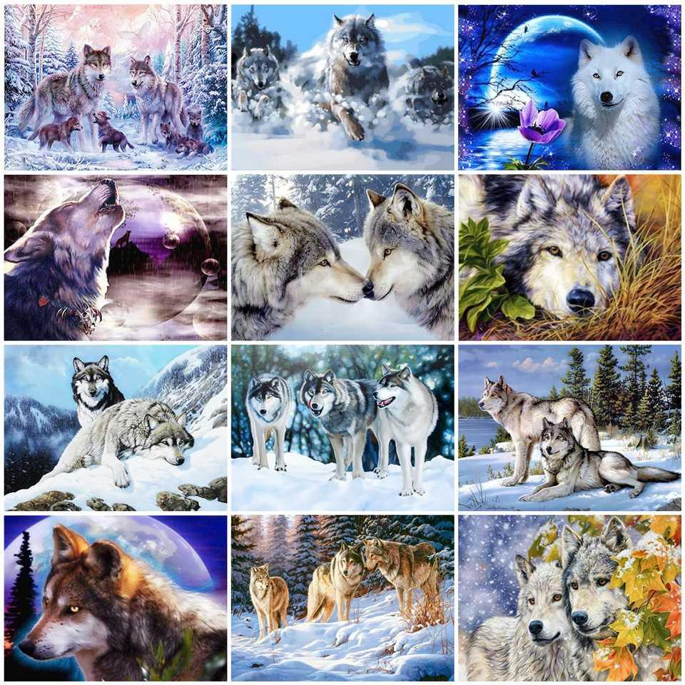 AZQSD completa Kits diamante bordado Wolfs Mosaic 5D Cross Stitch completa broca diamantada Pintura animal DIY Decoração