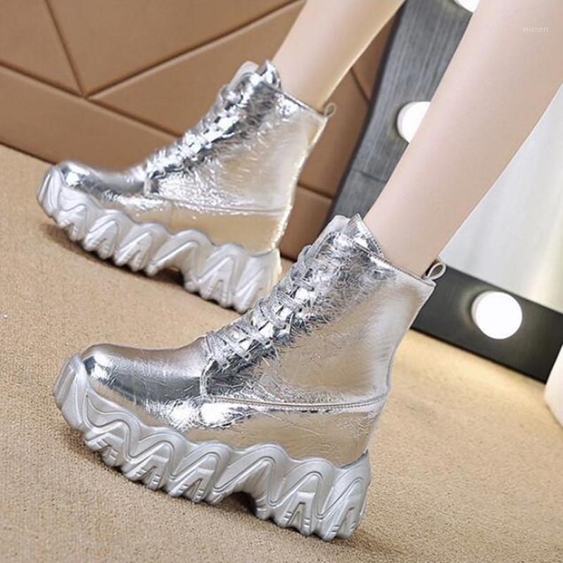 Botas de tobillo de alta calidad de alta calidad Mujeres Únicos de zapatillas ómpollas espesas zapatillas impermeables botas botas botines de encaje hembra