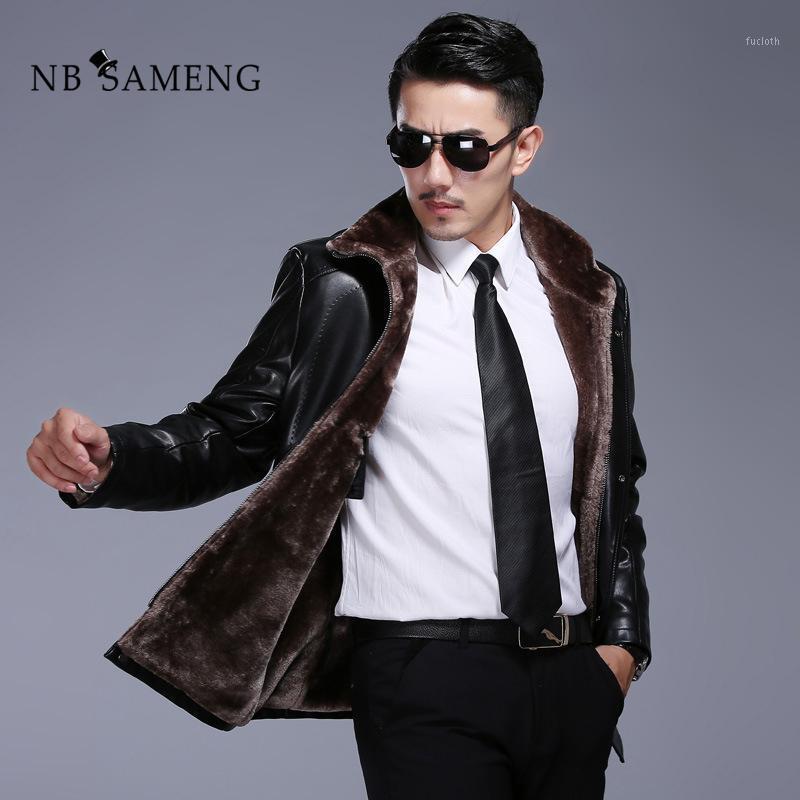 Мужская кожаная FAUX 2021 мода зимние мужские подлинные куртки бренда одежда черная куртка и пальто с шерстяным воротником 4xL1