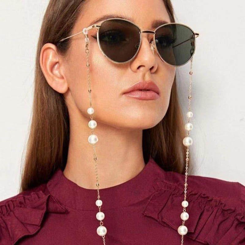 Nueva llegada de uso múltiple de las lentes cadenas con cierre de langosta de metal y perlas artificiales Máscaras Cara hermosa boca Cadena Máscara