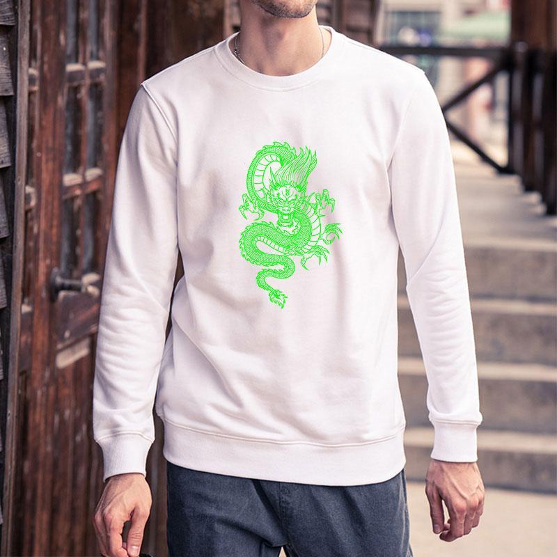 Mens Streetwear Moda fai da te Abbigliamento Uomo Autunno Inverno Trendy drago stampato a manica lunga con cappuccio Solid Felpe Colore