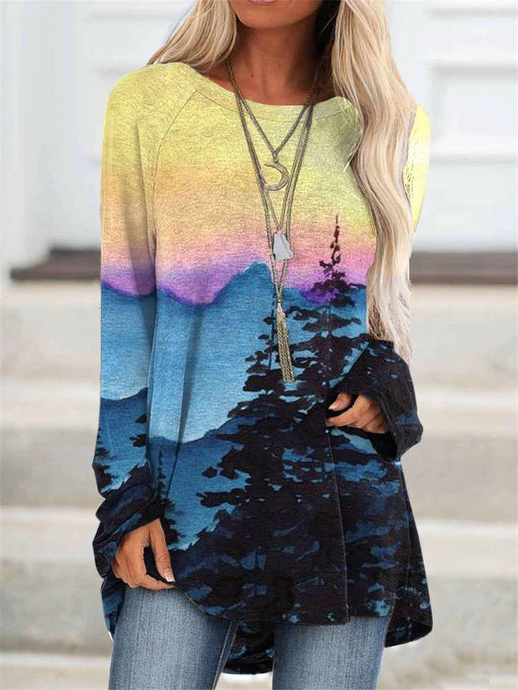 T-shirt a maniche lunghe stampata per donna di nuova moda
