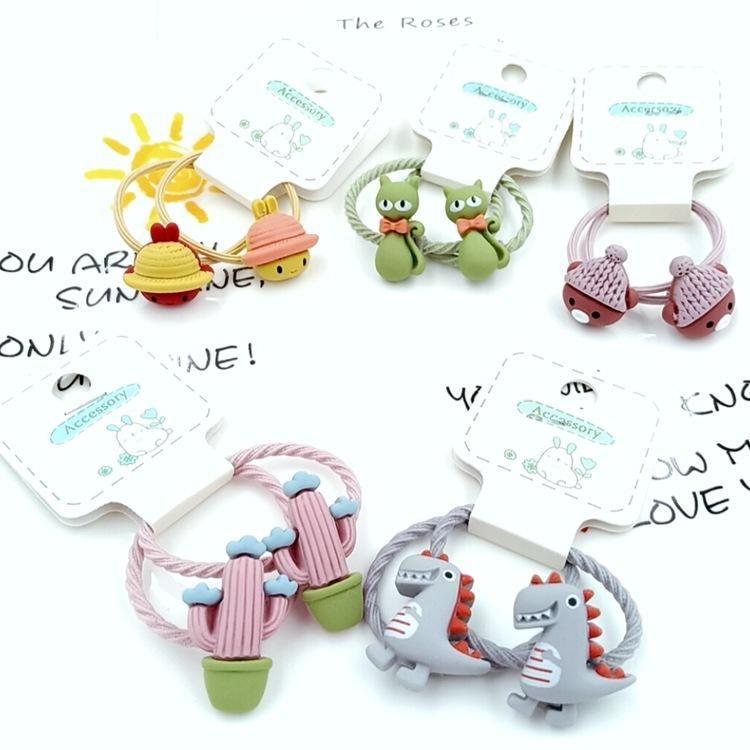 Une paire de bague de cheveux enfants corde cheveux coréenne mignonne petite fille cheveux attachés avec une bande élastique petit anneau