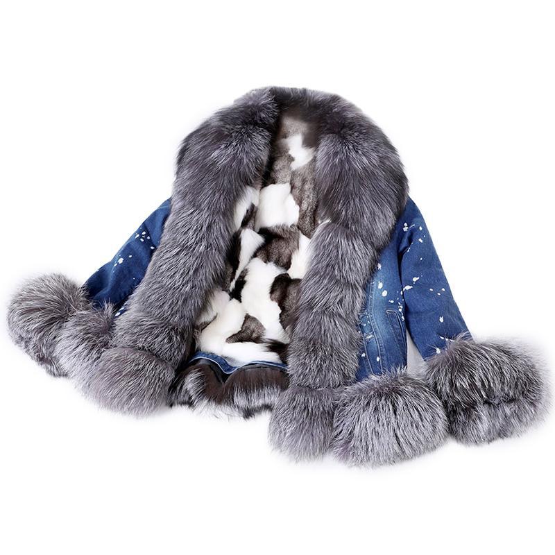 Genuine ultra short denim fox fur collar fashion plus velvet warm casual jacketdenim jacket women LJ201021