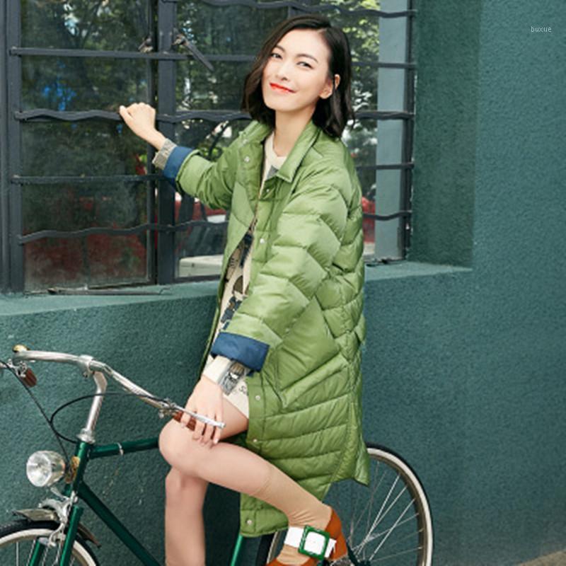 Sanishroly 2019 осень осенью зима новых женщин MIDI длинное пальто женский ультра светлое пальто Parka белая утка вниз куртка плюс размер SE4861