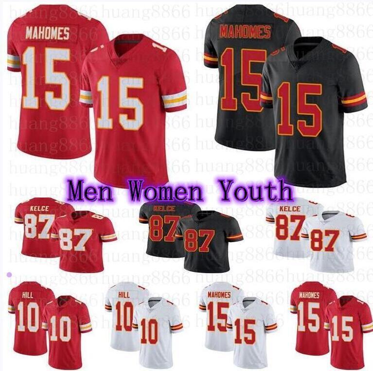 Erkek Kadın Gençlik Forması 15 Patrick Mahomes 87 Travis Kelce 10 Tyreek Hill Futbol Formaları