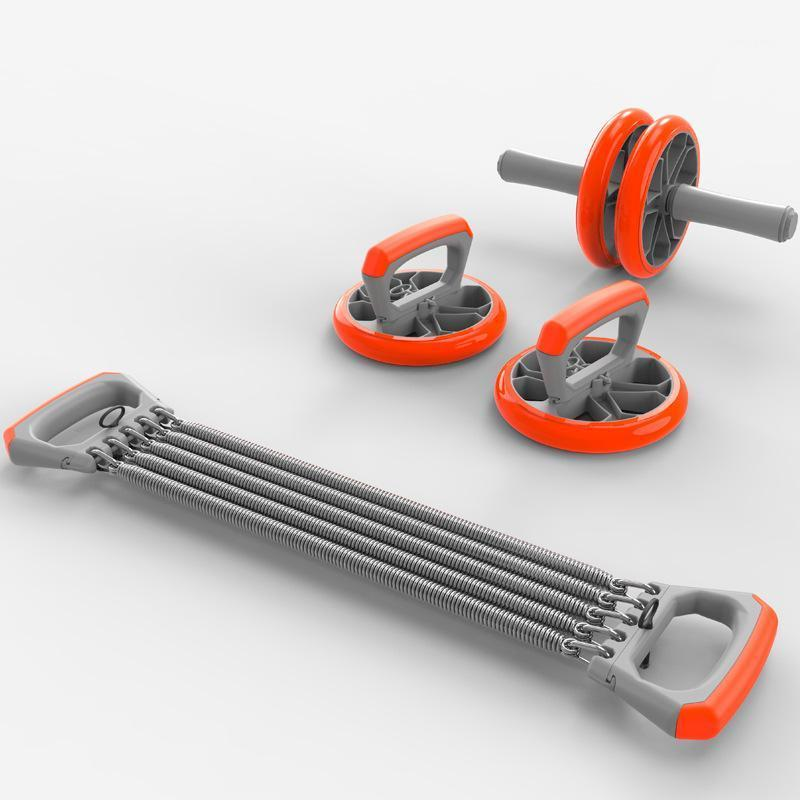Exercise Set No Noise Abdominal Wheel Ab Roller & Elastic Bands & Push Up Bar for Exercise Fitness Equipment Hip Trainer Gym1