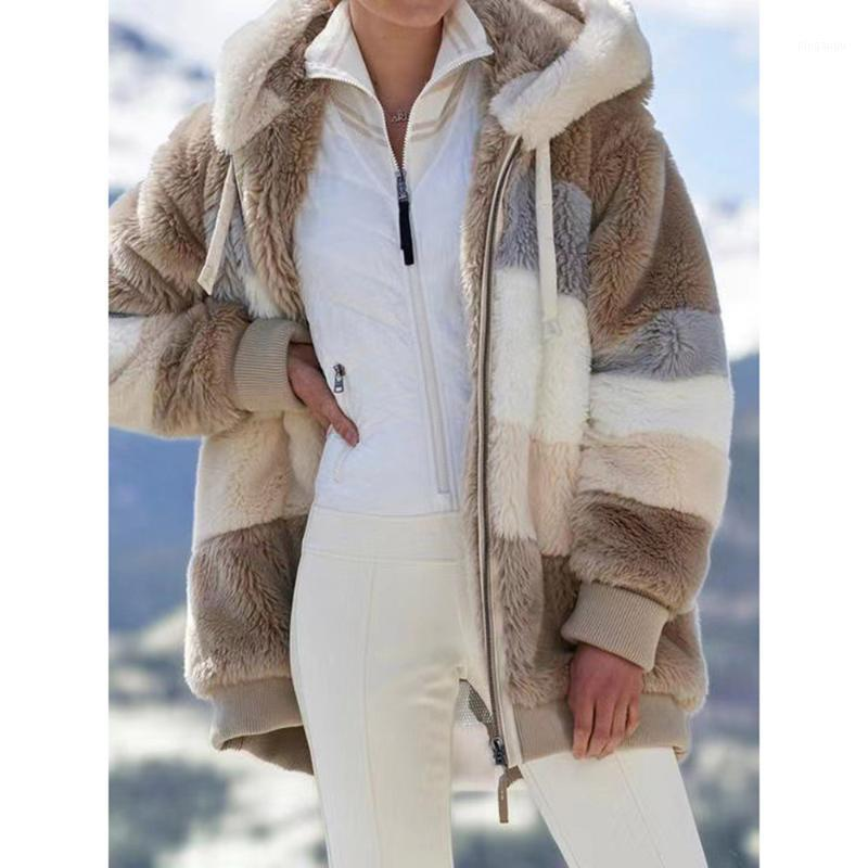 Pelliccia femminile Faux Stile occidentale Stile Overnoto Autunno Autunno Moda Inverno Spessa Stile Stile Stile Competibile Semplice Semplice Sottile con cappuccio con cappuccio a maniche lunghe Contrast1