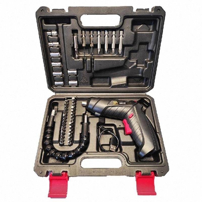 2/4 / 47pcs di una serie di cacciaviti Drill 3.6V cacciavite elettrico multifunzione Trapano ricaricabile al litio per casa 8uUb #