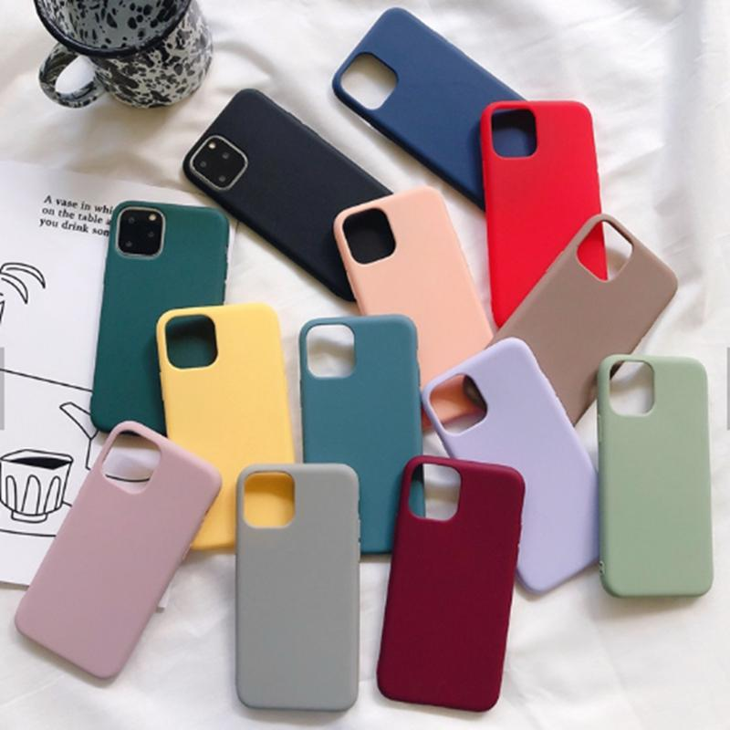 custom wholesale soft Shockproof Thin Anti-knock Candy Color premium Silicon tpu mobile cell phone case 2020 For iphone 11 Pro Max 12 X Xr