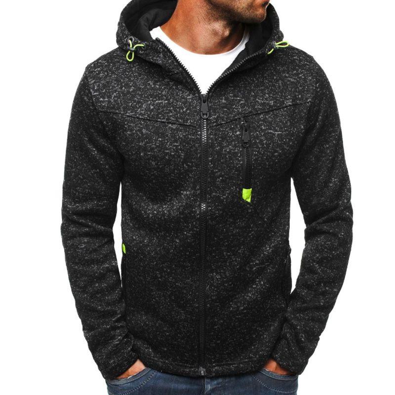 Новые зимние мужские флисовые толстовки куртка толстые теплые контрастный цвет тонкий молния карманная толстовка повседневная осень плюс размером с капюшоном пальто