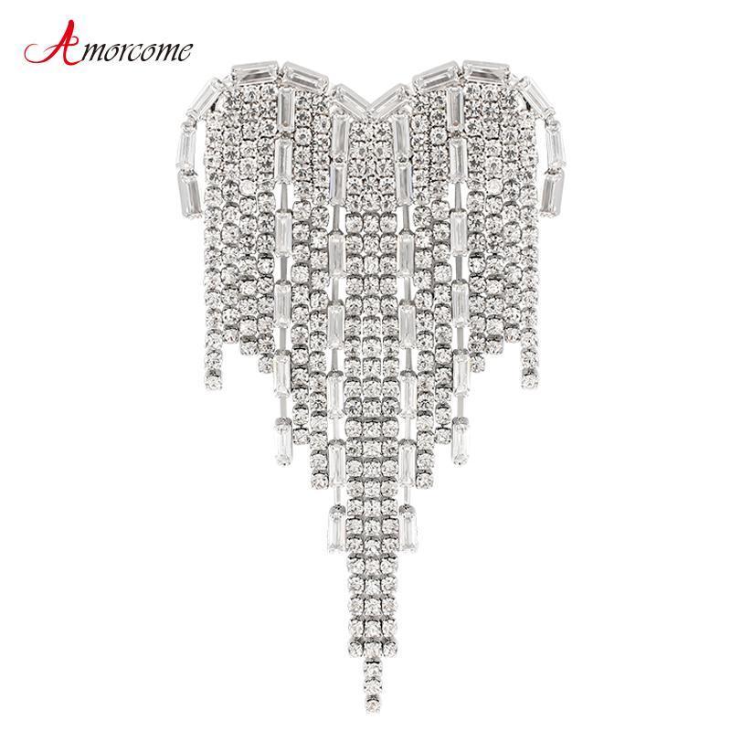 Amorcome Rhinestone Heart Broş Sırt Çantası Düğün Takı üzerinde Kadınlar Moda 2020 Tasarımcı Alaşım Broş iğneler Rozetleri için