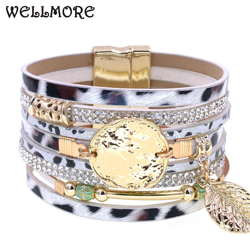 WELLMORE кожаных браслеты богемы печати леопарда браслеты женщина браслет шарма магнит для женщин роскоши партии ювелирных изделий