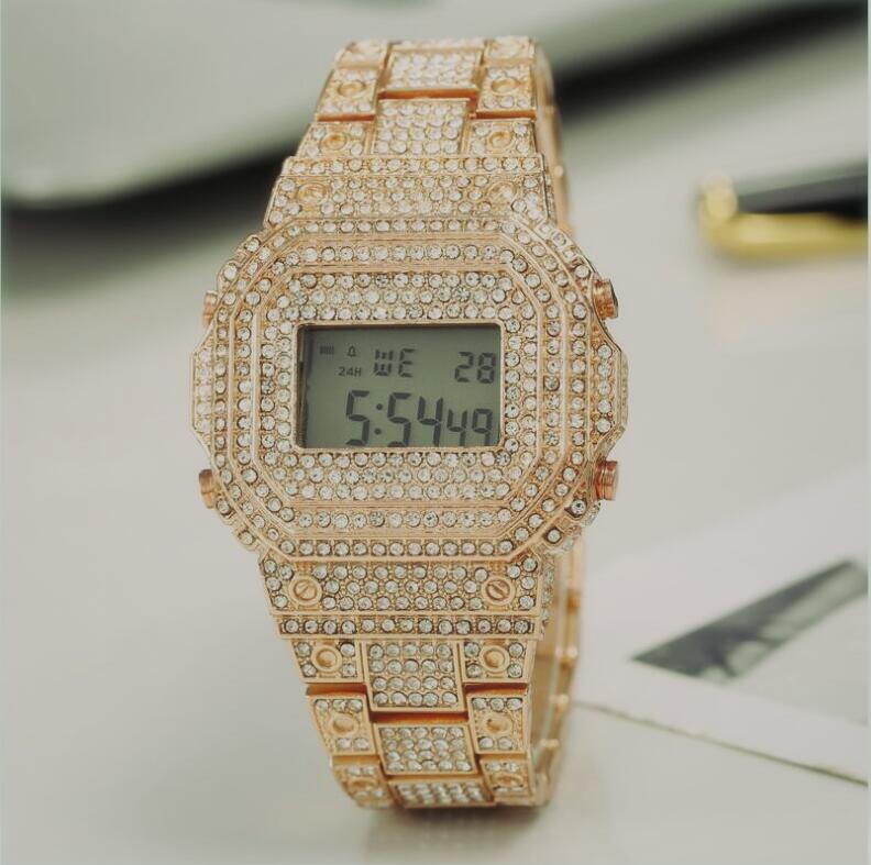 Diamonds Bezel Sports Watches Fashion Military Army Men's Women Bracelet Watch Fashion Digital LED Alarm Clock Wristwatches for Man Male
