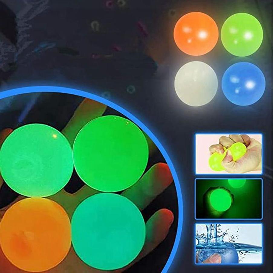 Palloni da soffitto Glow in the Dark fluorescent Sticky Palloni da parete appiccicoso per il soffitto Bersaglio Decompressione della sfera Decompressione Rilassati Giocattolo Stress Ball FY7491