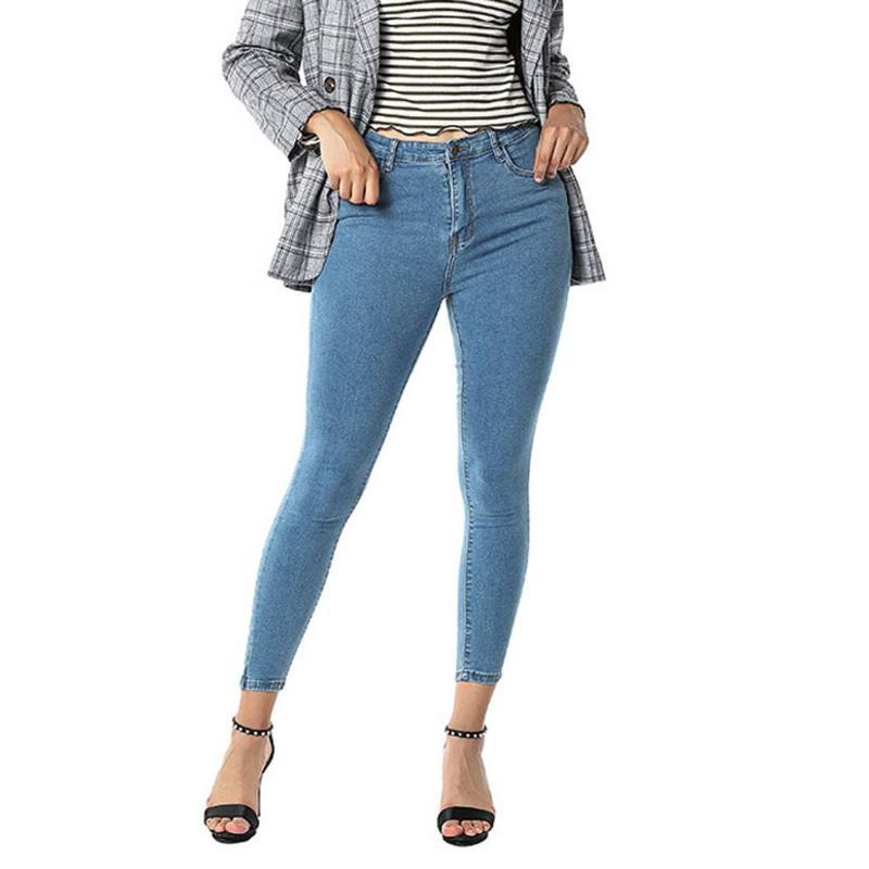 JAYCOSIN Твердые Denim Узкие брюки Hight талией джинсы поножи карандаш брюки Повседневная Женщины Длинные джинсы Тонкий Женщины