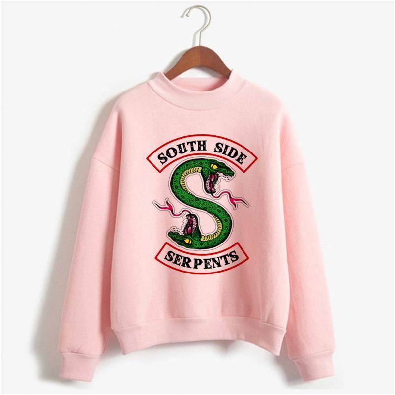 Riverdale Толстовка Женщина Pink South Side Змея Толстовка пуловер с длинным рукавом Корейского Толстовка повседневные водолазка Одежда