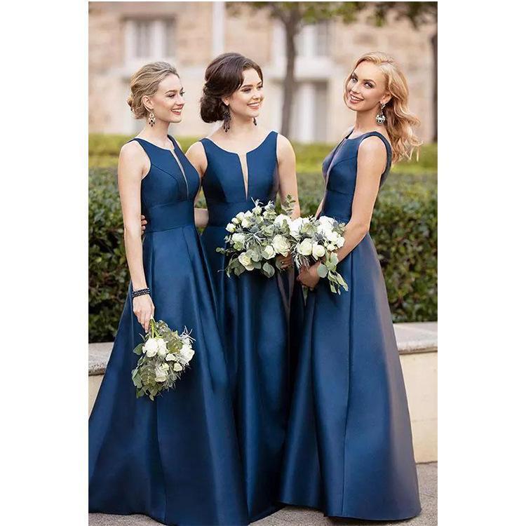 Popular Sexy Deep V Neck Bridesmaid Dresses Floor Length Custom Made With Wedding Guest Dress Maid Of Honor Dresses