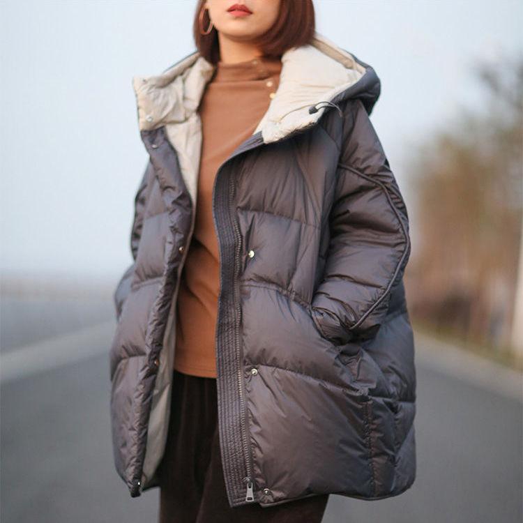 Женщины 2020 зимняя мода новая белая утка вниз куртка женский простой дизайн пальто с капюшоном дамы теплая середина длинные повседневные Parka l156