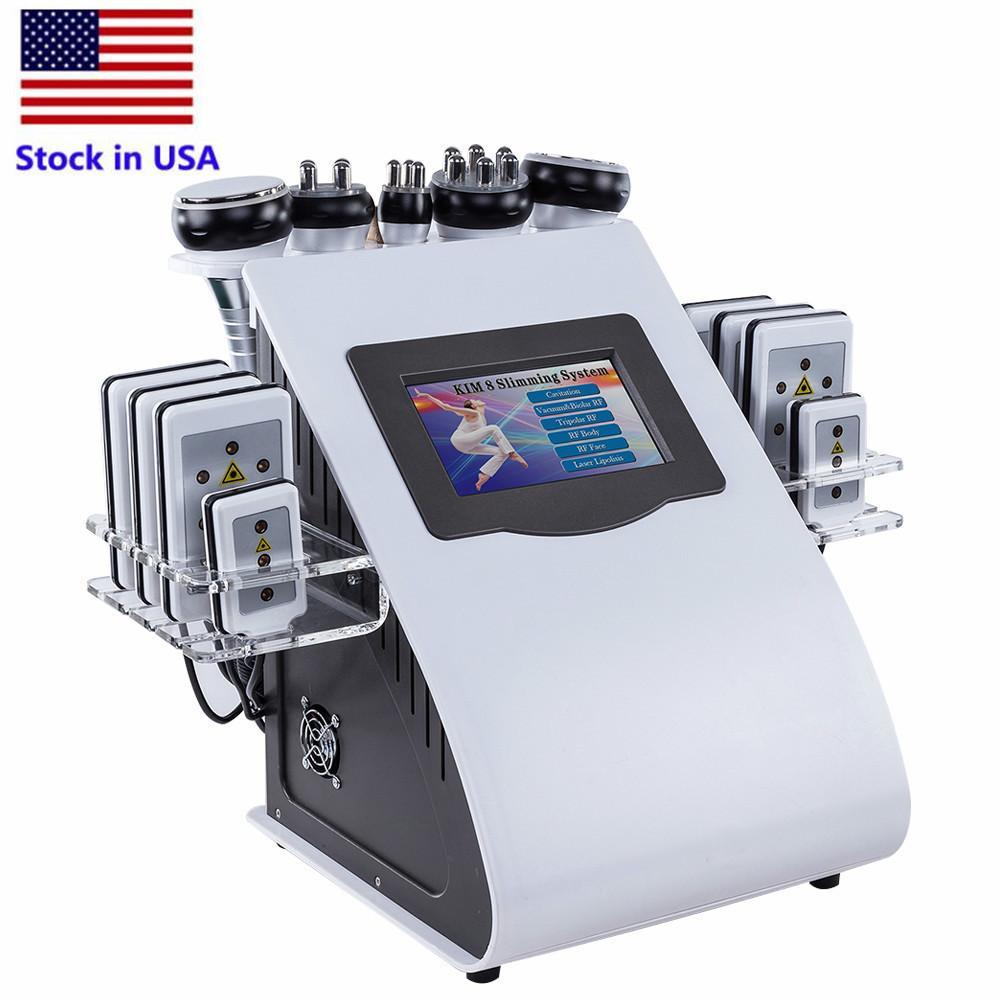الأسهم في الولايات المتحدة الأمريكية 40K آلة التجويف بالموجات فوق الصوتية 8 منصات شفط الدهون LLLT LLLT LLLT ليزر RF فراغ كافي ليبو التخسيس العناية بالبشرة صالون سبا معدات
