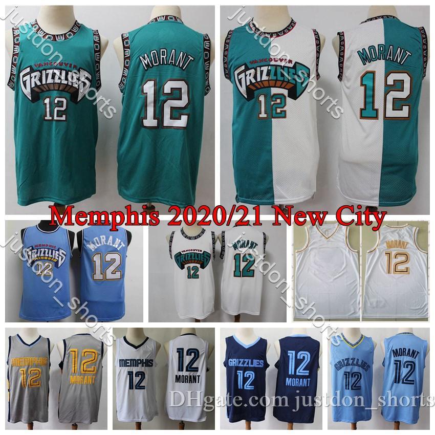 2020 Mens Memphis Basketball Jersey Ja Morant 12 Vintage Shareef Abdur Rahim 3 Mike Bibby 10 Bryant Reeves 50 Camisas de Basquete Retro