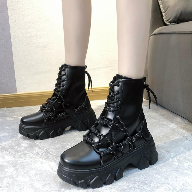 Rimocy Black Punk Style Platform Women Toble Boots Fashion Cross Strap Chunky Tacones Botas Mujer A Impermeable PU Cuero Shoes 20114