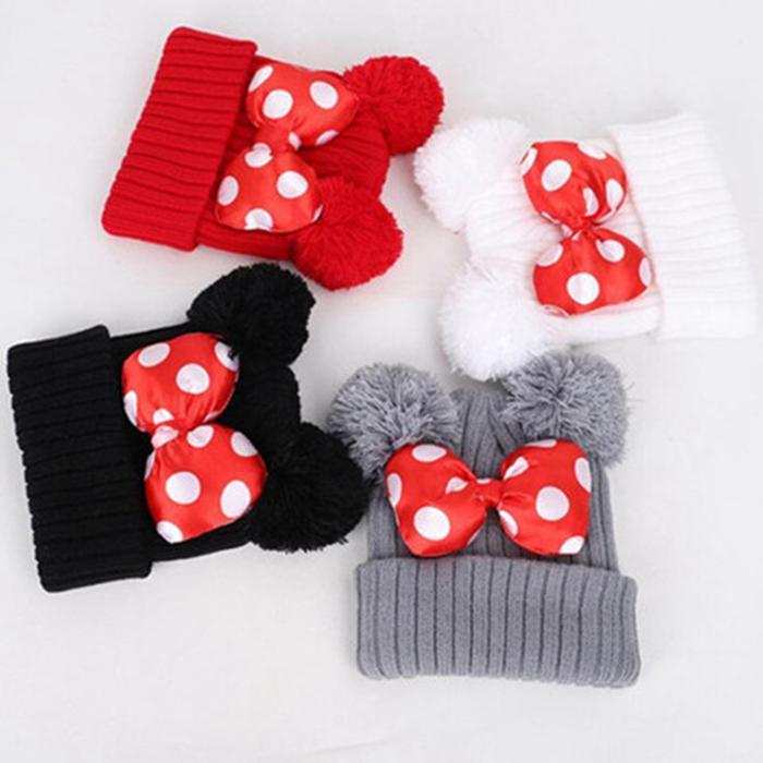Baby Pom Beanie Cap Bow Fur bow hat Toddler Kids Baby Girls Winter Warm Crochet Knit Hat 2-5 years LXL590DXP