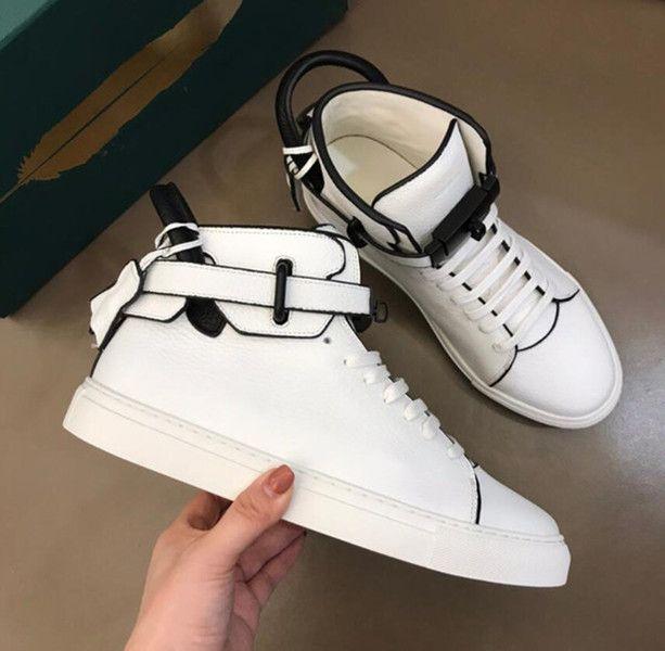 Designer Perfeito Dusty Tricolor Lock Sneaker Sapatos Genuíno Couro Alto Top Homens Conforto Skateboarding Outdoor Casual Andando Sapatos