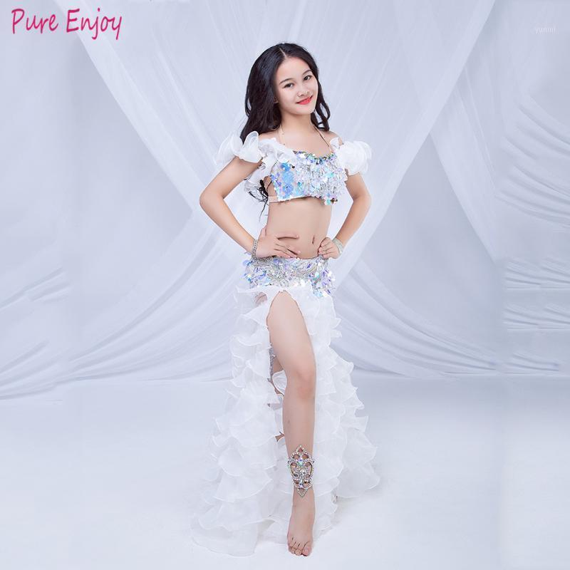 2020 Nuovi Kids Performance Belly Dance Costumes Girls DNCE Stilge Set Abiti da ballo fatto a mano Spalato Lungo Gonna Costume Costume1