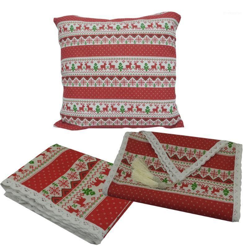 Nappe en draps en coton en coton imprimé Snkflake Snk-Flake Joyeux Noël dentelle Tassel Table de table Coussin Coussin Coussin Home Party Décoration1