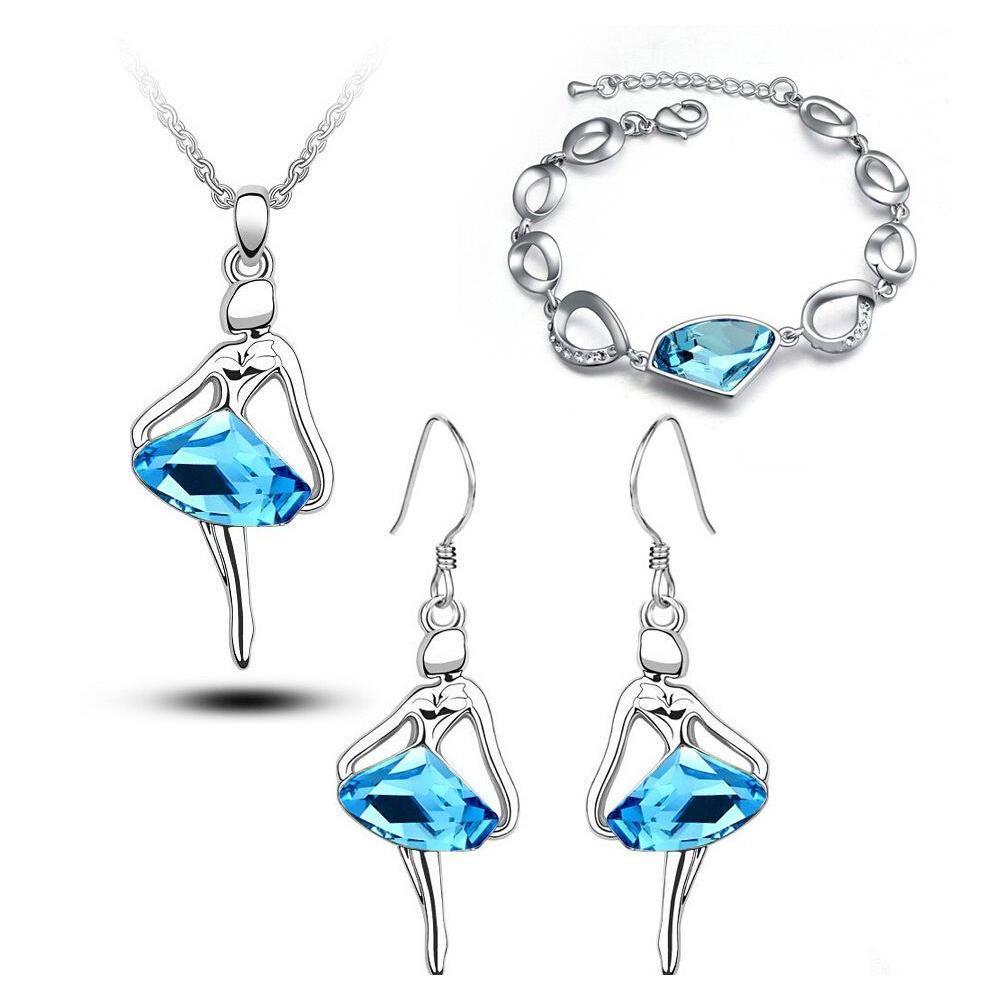 18K White Gold Plated Ballet Dancing Girl Figure Crystal Necklace Earrings Bracelet Jewelry Set For Women Sapphire Wedding Jewelry W42A0