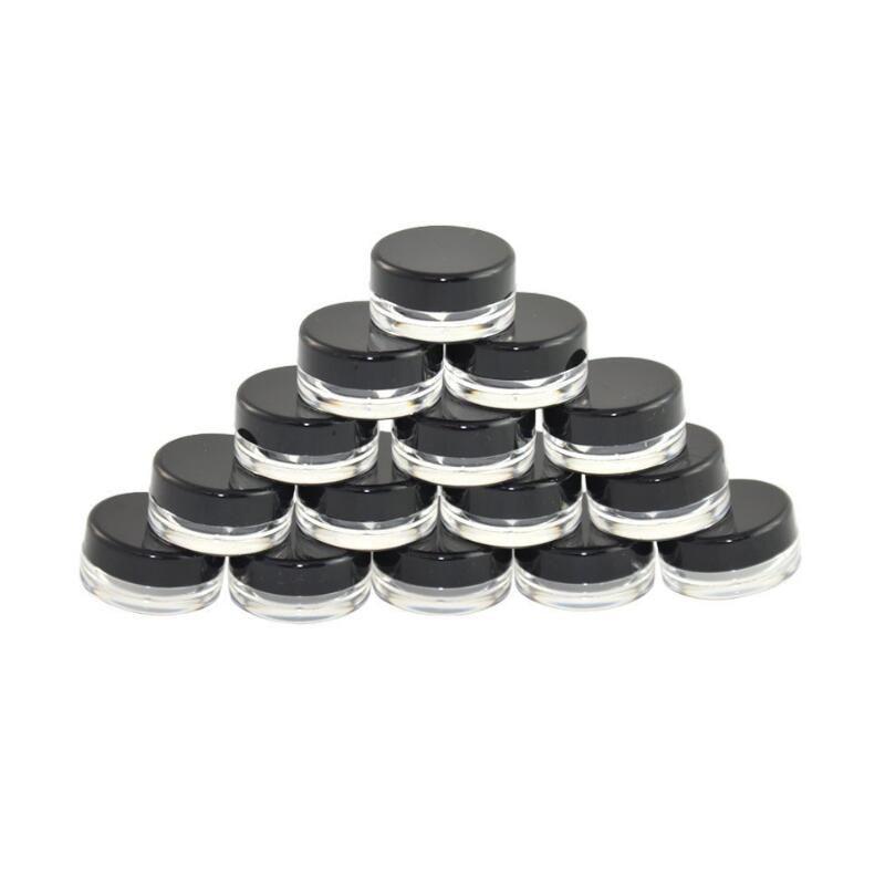 5G 5 ml di alta qualità vuoto trasparente contenitore vaso con coperchi neri per trucco in polvere, crema, lozione, balsamo labbra / lucido, campioni cosmetici OWB1448