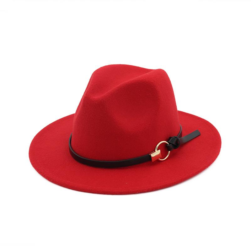 Donne uomo Fedora Cappello con nastro di cuoio Fedoras cappello jazz cappello casual all'aperto Cappello casual Gentlemen Elegante Brim Brim Cap Winter Panama Cap 169 K2