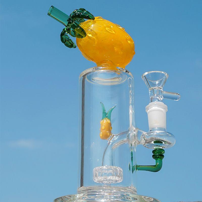Einzigartige Bunte Früchte Form Glas Bongs Wasserpfeifen 14mm Female Joint Recycler Percs Rauchen Bongs Mit Schüssel Dab Showerhead Perc Ananas