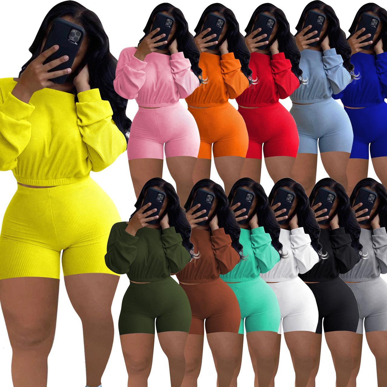 Женщины Scestsuits Двухструктурные наряды дизайнеры Одежда 2021 Рукав летучей мышкой Топ плиссированные брюки Дамы Новые Модные Шорты Брюки Установить беговые костюмы