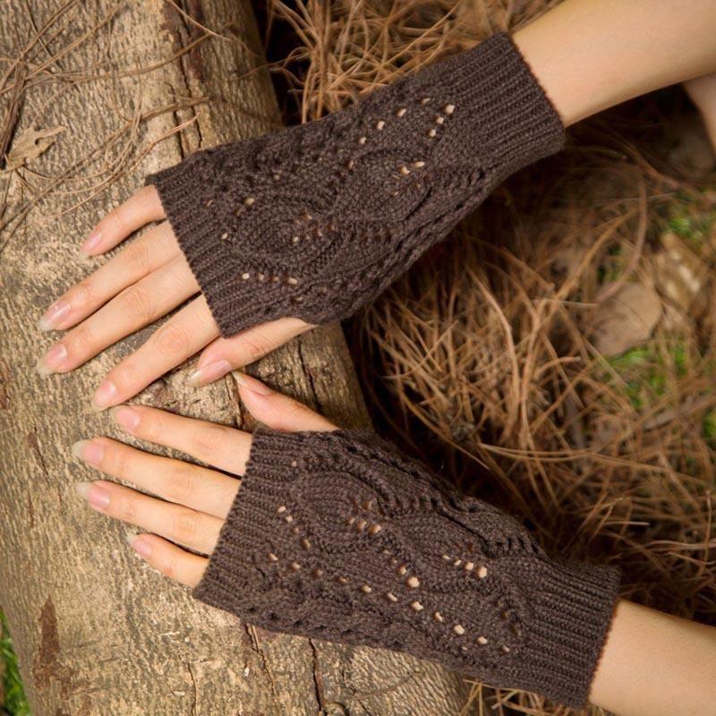 Пять пальцев Перчатки La Maxpa Женщины Стильная Ручная Наблюдающая Зимняя Рука Крючком Вязание Искусственная шерсть Мошельтена Теплый Без пальцы K2144