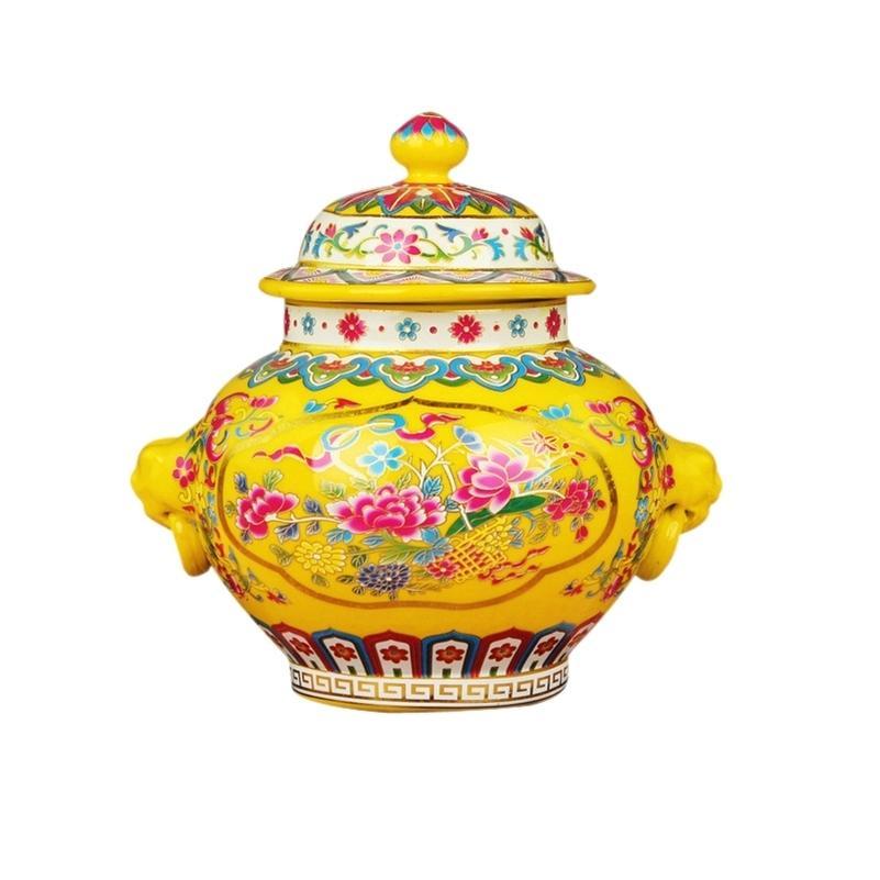 Jingdezhen antico reale ceramica ceramica cloisonne smalto vaso vaso giallo glassa cappello coperto di barattolo coperto di barattoli creativi regalo creativo LJ201209