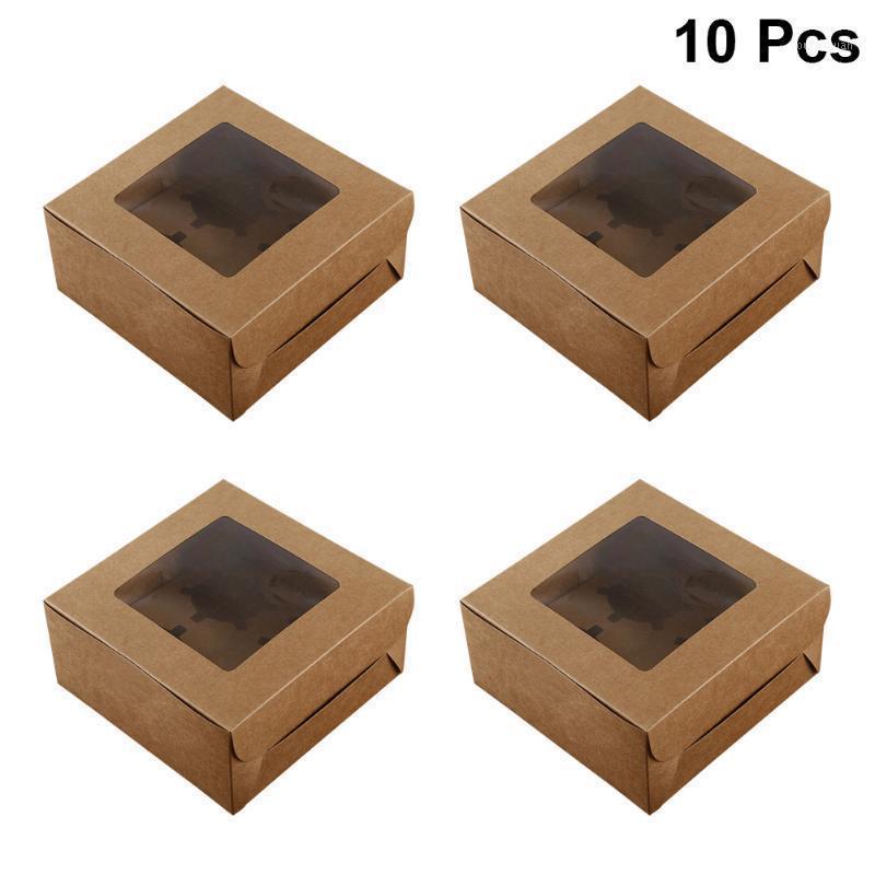 10 stücke 4 havities papier cupcake box kraft papier box mit fenster karton cup kuchen dessert container hochzeit nachtisch shop1