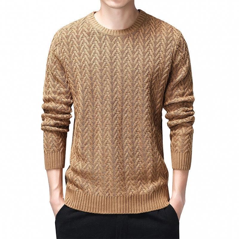 100% Cotton Sweater Men Autumn Winter Slim Fit Pullovers Men Argyle Pattern O-Neck Pull Homme Christmas Sweaters Black 3XL 201126