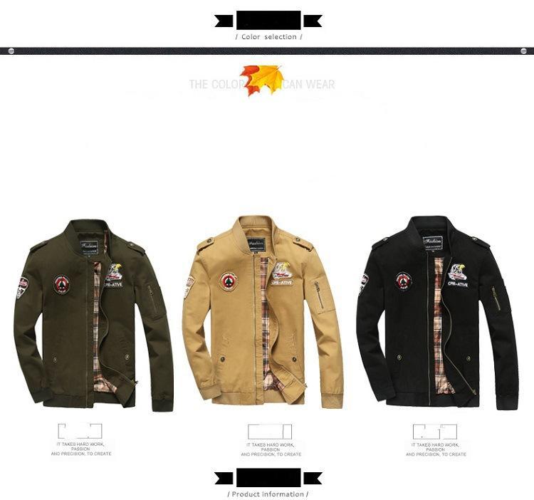 2020 Hot Sale Air Force Men One Flight Jacket pur Veste pour hommes en coton extérieur Casual Jacket Livraison gratuite