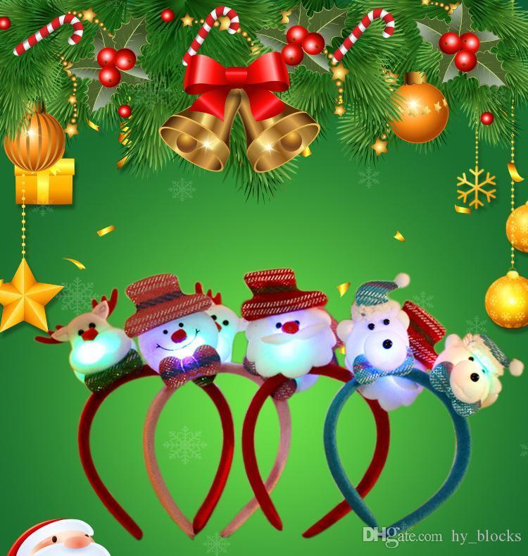 LED Bandeau clignotant Décoration Accessoire de Noël Sant Antler Party Bande Snowman Cheveux Feu de Noël Chers Cadeau Décor VQPKF