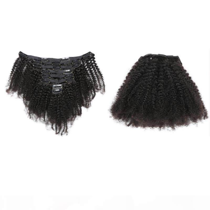 Clip de pelo humano indio en afro rizado rizado 120 g de clip en extensiones de cabello paquetes Vrigin color natural